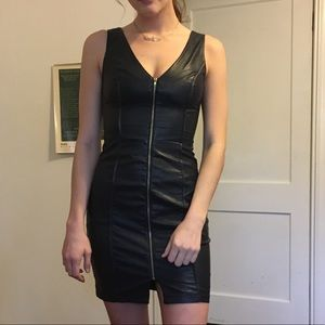 FRONT ZIP FAUX LEATHER OPEN BACK BODY CON DRESS